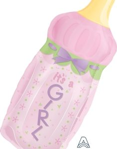 000378 – 35″ Pink Baby Bottle  It's a Girl  Foil Balloon ∣ 35寸粉紅女生奶樽 It's a Girl 鋁質氣球