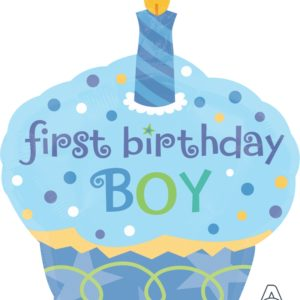 000366 – 28″ Sky Blue Baby Boy First Birthday Cup Cake Foil Balloon  28寸 一歲生日 粉藍男生First Birthday杯子蛋糕 鋁膜氣球